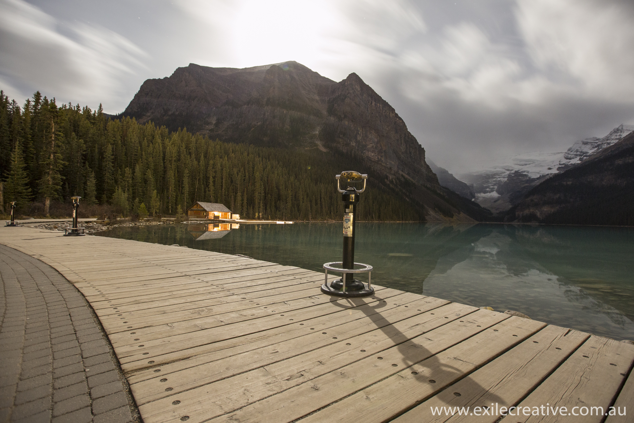 Lake Louise boathouse in the moonlight
