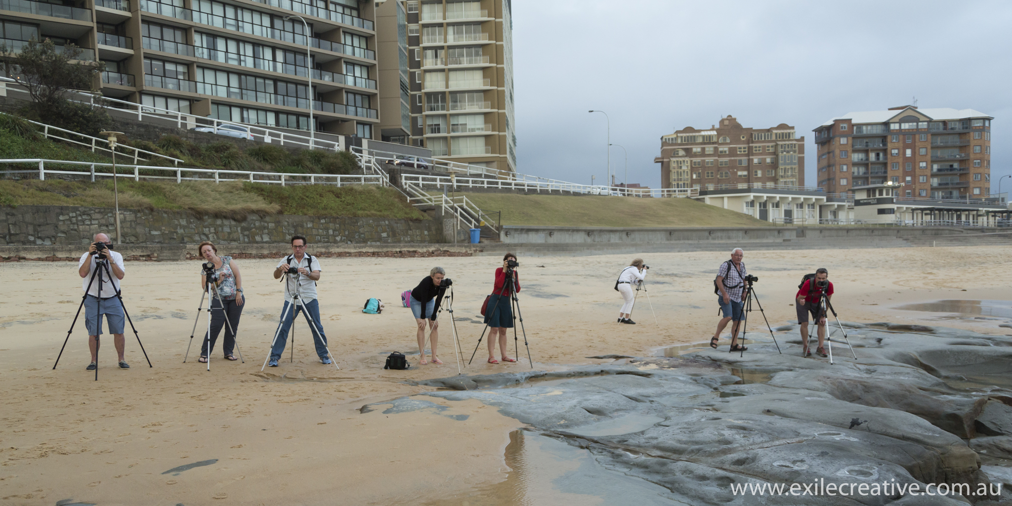 The group shooting it out on Newcastle Beach