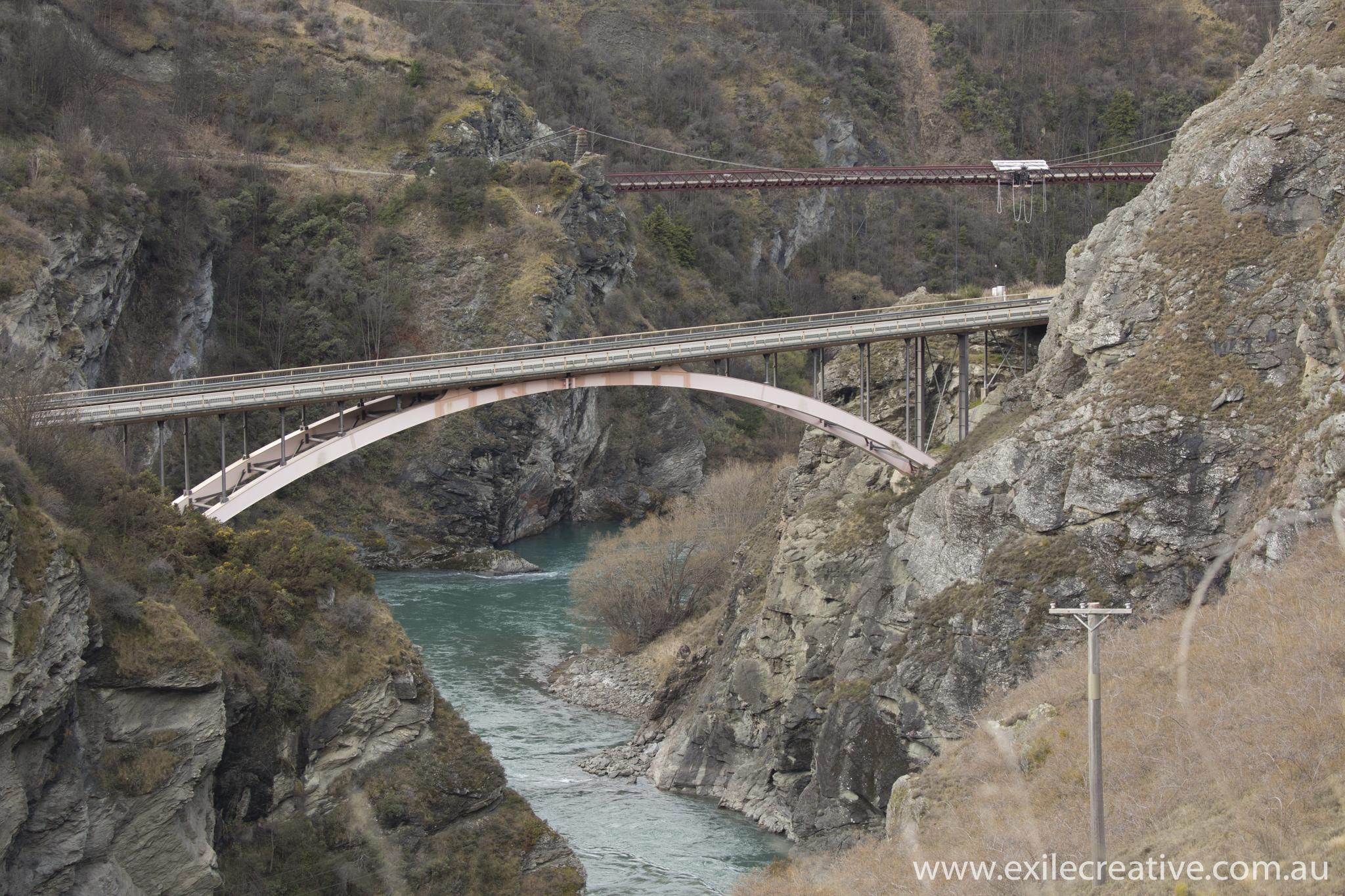 Kawarau Gorge Suspension Bridge  Canon 5Dmiii, 100-400L II IS @ 400mm, ISO400, f/6.3, 1/250s