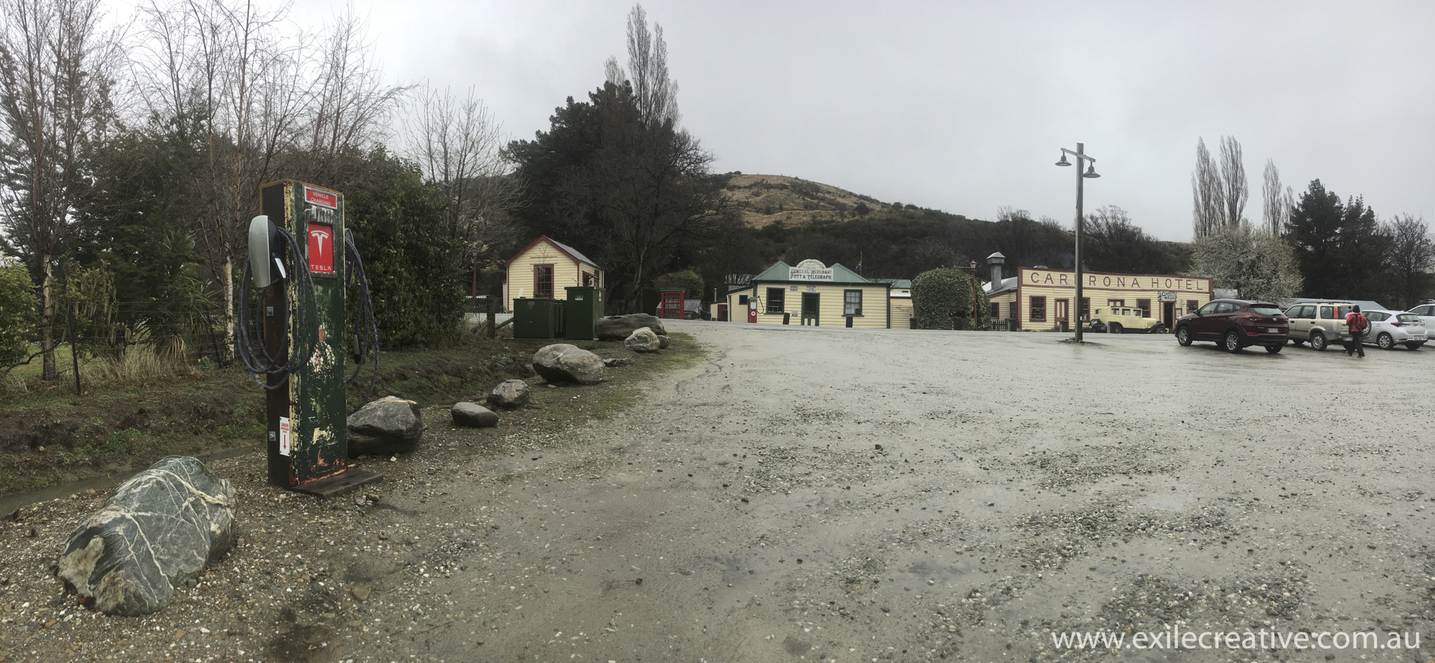 A rainy afternoon spent at the Cadrona pub.  I was amazed to see a Tesla charging station here.  Apparently the test track is in the nearby hills!  iPhone 6s pano