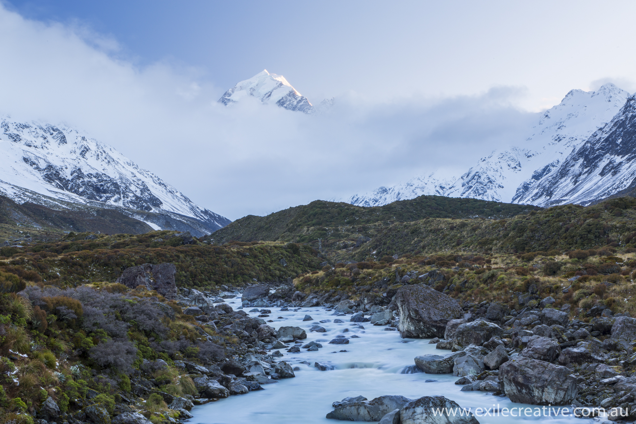 One of the few glimpses we got of Mt Cook this morning.  Canon 5Dmiii, 24-105L @ 47mm, ISO100, f/22, 4s with 0.6 Soft GND