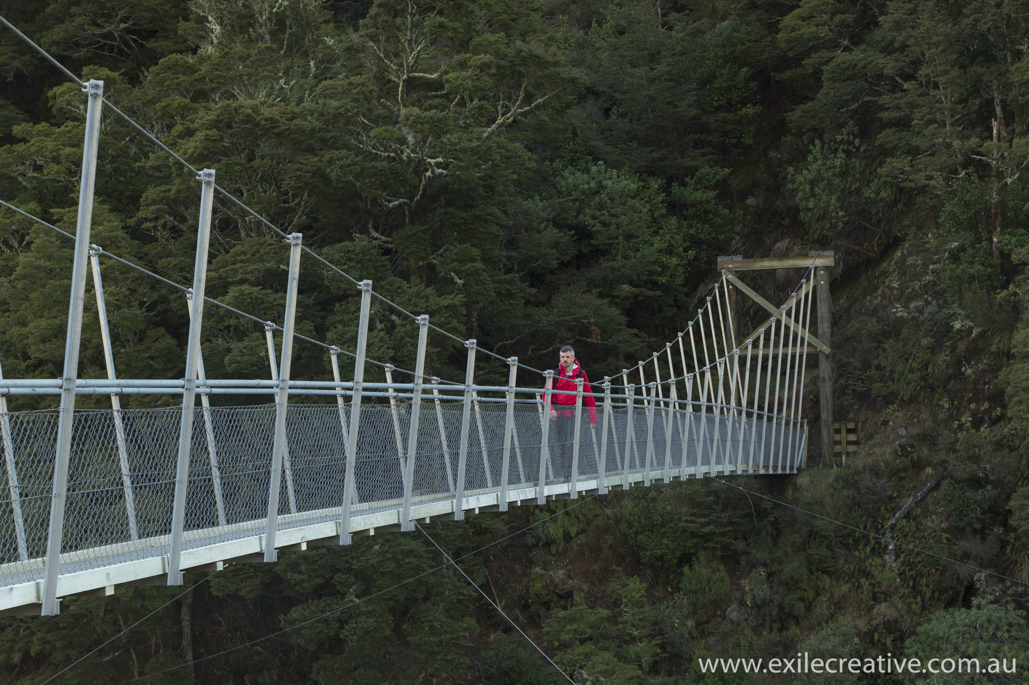 The swing bridge at the start of the Rob Roy Glacier Track.  Canon 5Dmiii, 24-105L @ 60mm, ISO640, f/6.3, 1/250s with B+W CPL