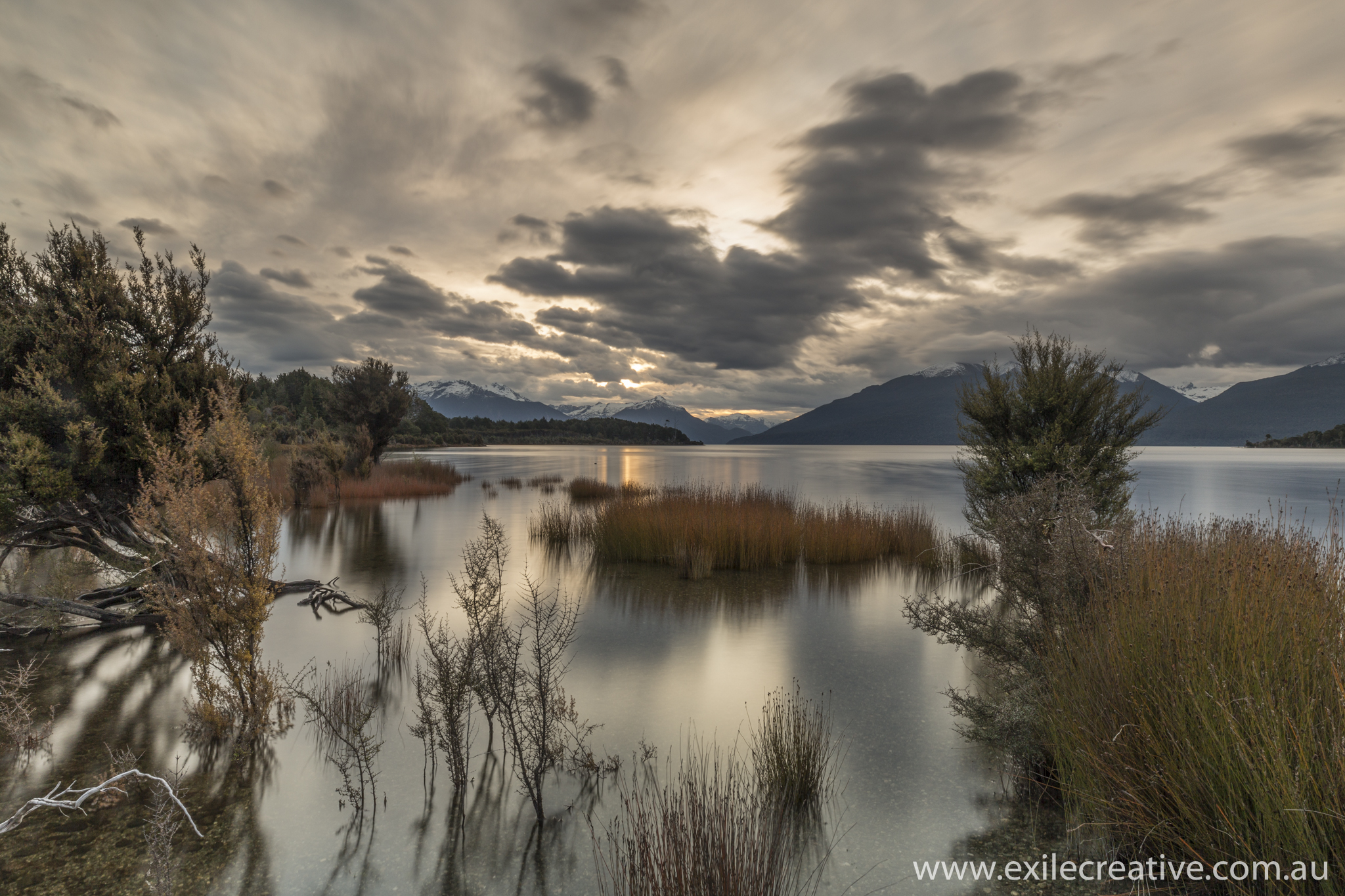 The sun begins to set on the Northern Shores of Lake Te Anu  Canon 5Dmiii, 16-35L iii @ 20mm, ISO200, f/18, 25s with 0.6ND and 0.9 Soft GND