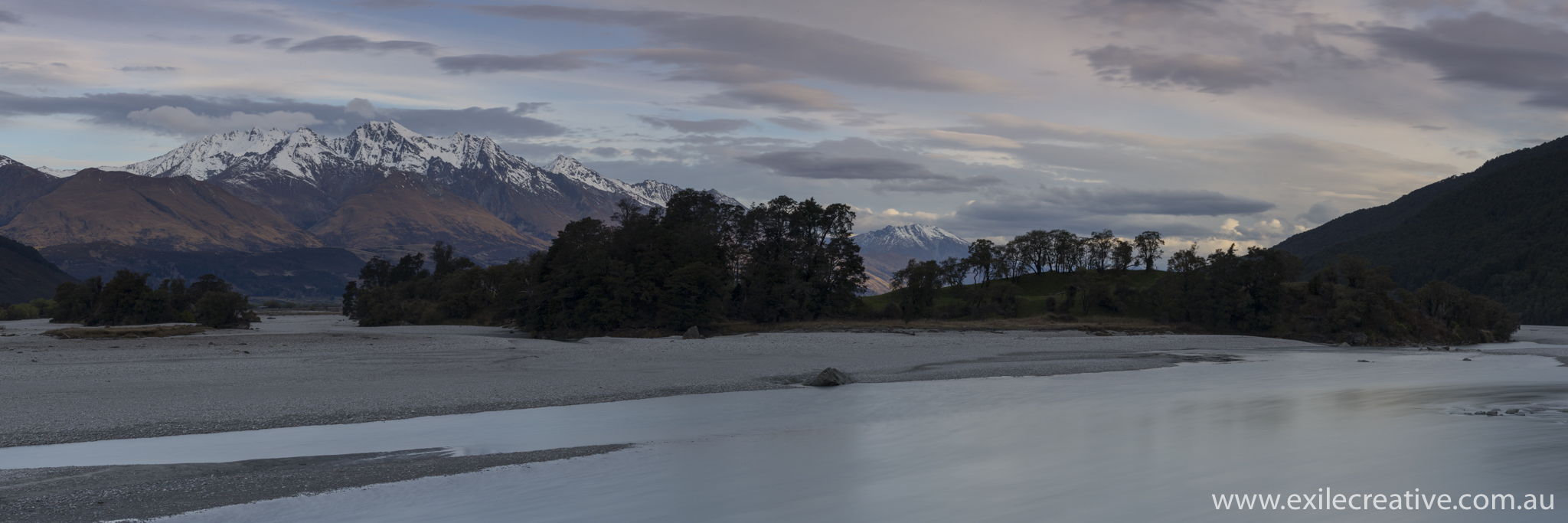 Shooting South off the bridge on the Glenorchy-Routeburn rd.  Stitched Panorama in portrait  Canon 5Dmiii, 100-400L IS ii @ 100mm, ISO100, f29, 10s, Nisi 0.6ND & B+W CPL
