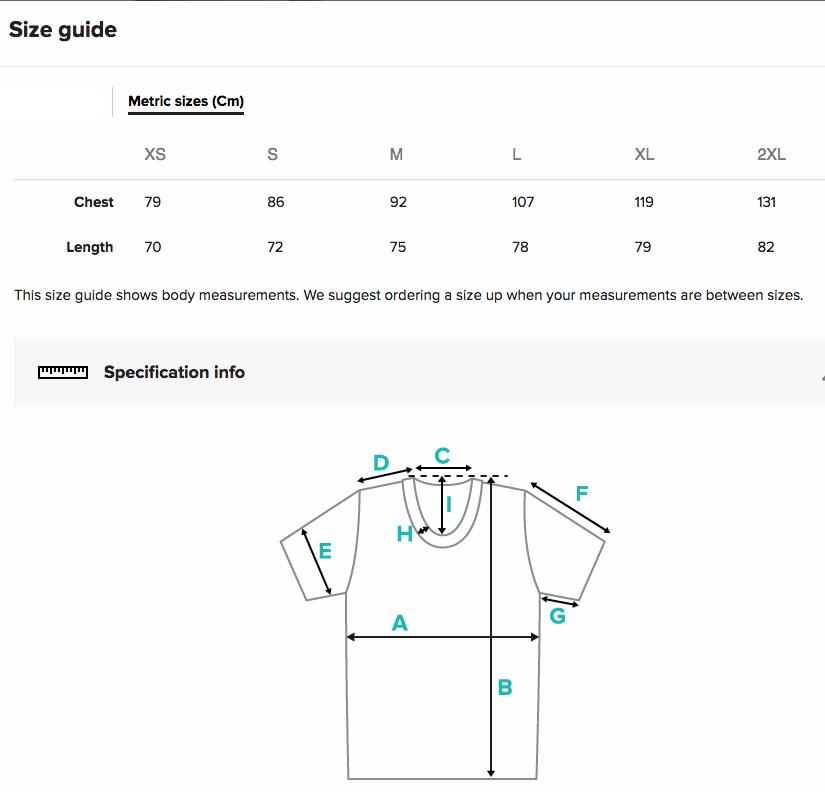 Grössentabele T-Shirt