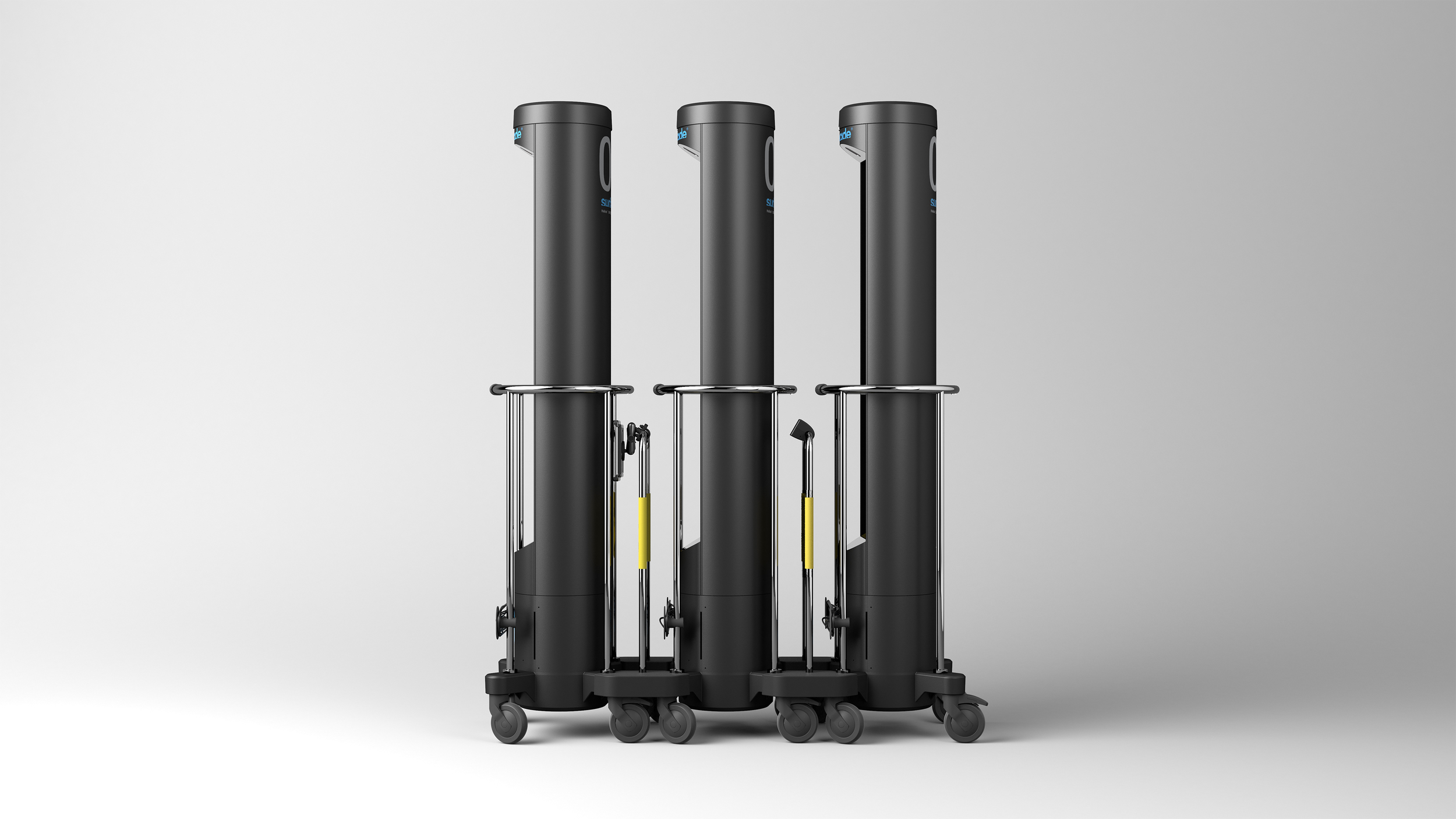 The Surfacide UV-C towers with motion sensor and control stand in train.