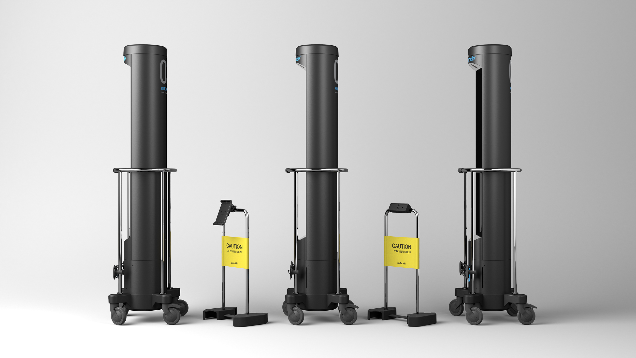 The Surfacide UV-C towers with motion sensor and control stand - uv disinfection , uv-c disinfection, decontamination.
