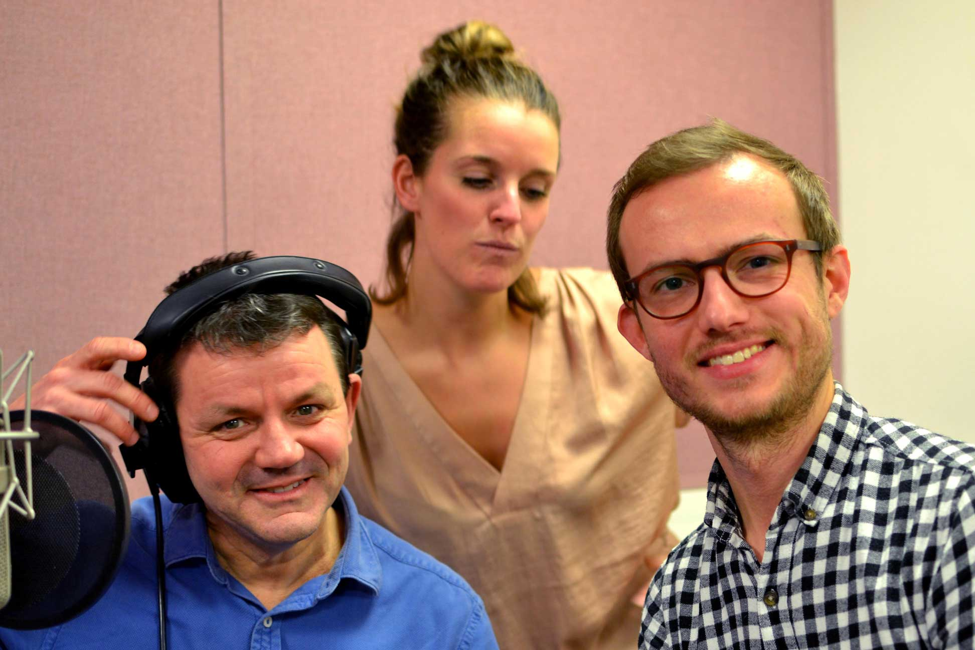 The Cumulus Cast, from left to right: Wayne Forester (voice of Mister Booby), Rhian Marston-Jones (voice of Penwyn), Philippe Nielsen (voice of Bryder)