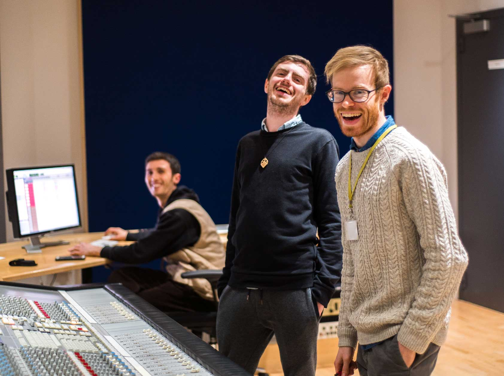 In the studio recording the original Cumulus soundtrack, from left to right: Nicolò Panzarasa (Recording Engineer), Ioan Holland (Director & Writer), Aaron Buckley (Soundtrack Composer)