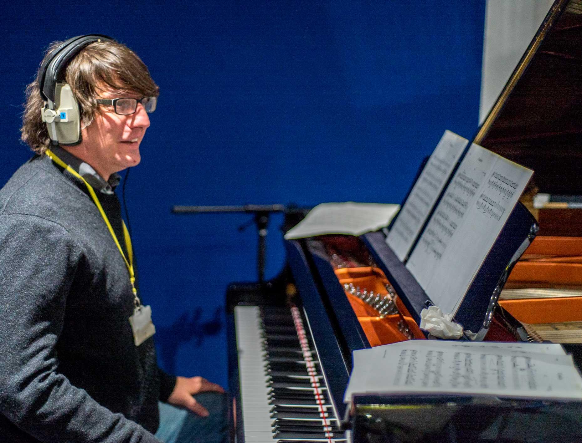 Pianist, Jools Scott, recording the original Cumulus soundtrack