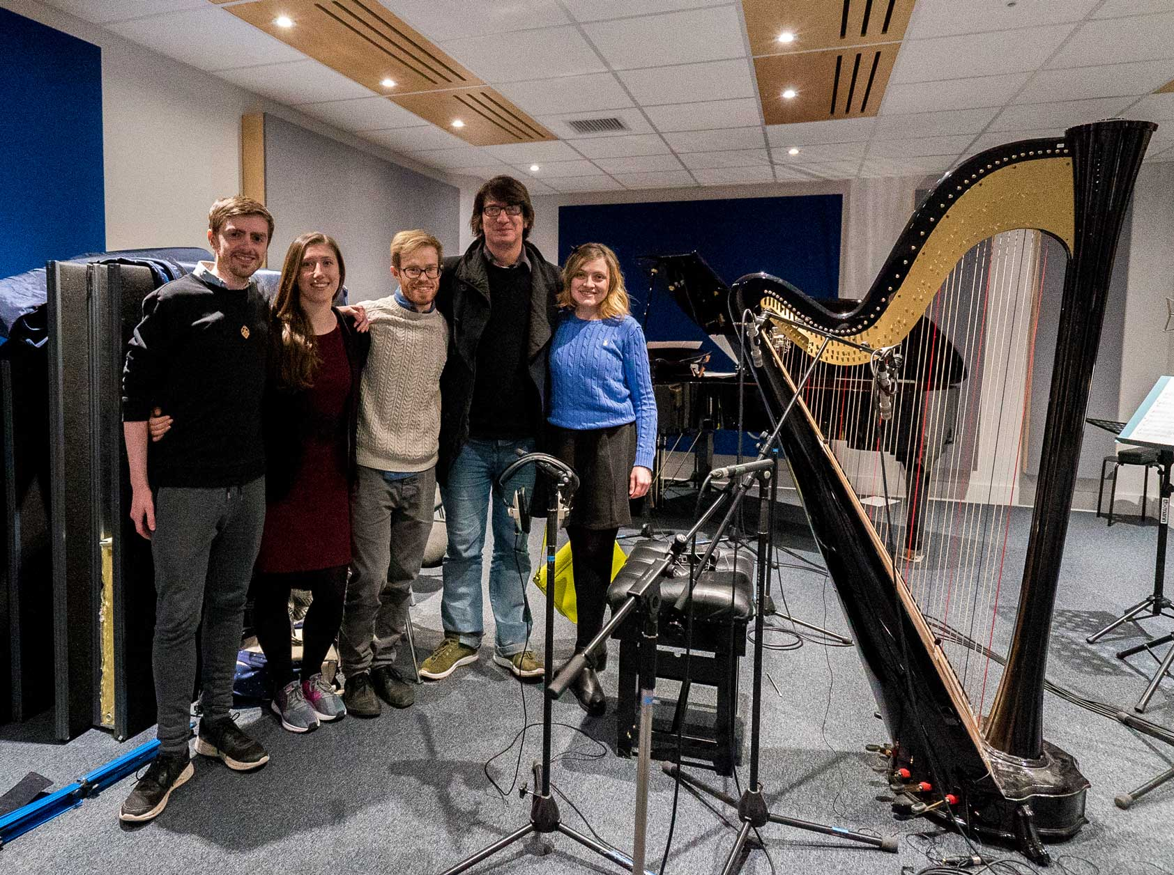 After a day of original soundtrack recordings at the SAE Institute in London, from left to right: Ioan Holland (Director & Writer), Gloria Daniels-Moss (Producer), Aaron Buckley (Soundtrack Composer), Jools Scott (Pianist), Cerian Holland (Harpist)