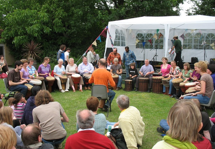 Group drumming circle for parties and private events.