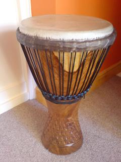 Djembe drum used in drumming workshops.