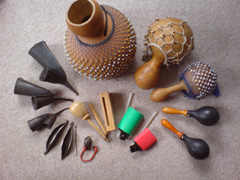 Hand percussion instruments used in drumming workshops.