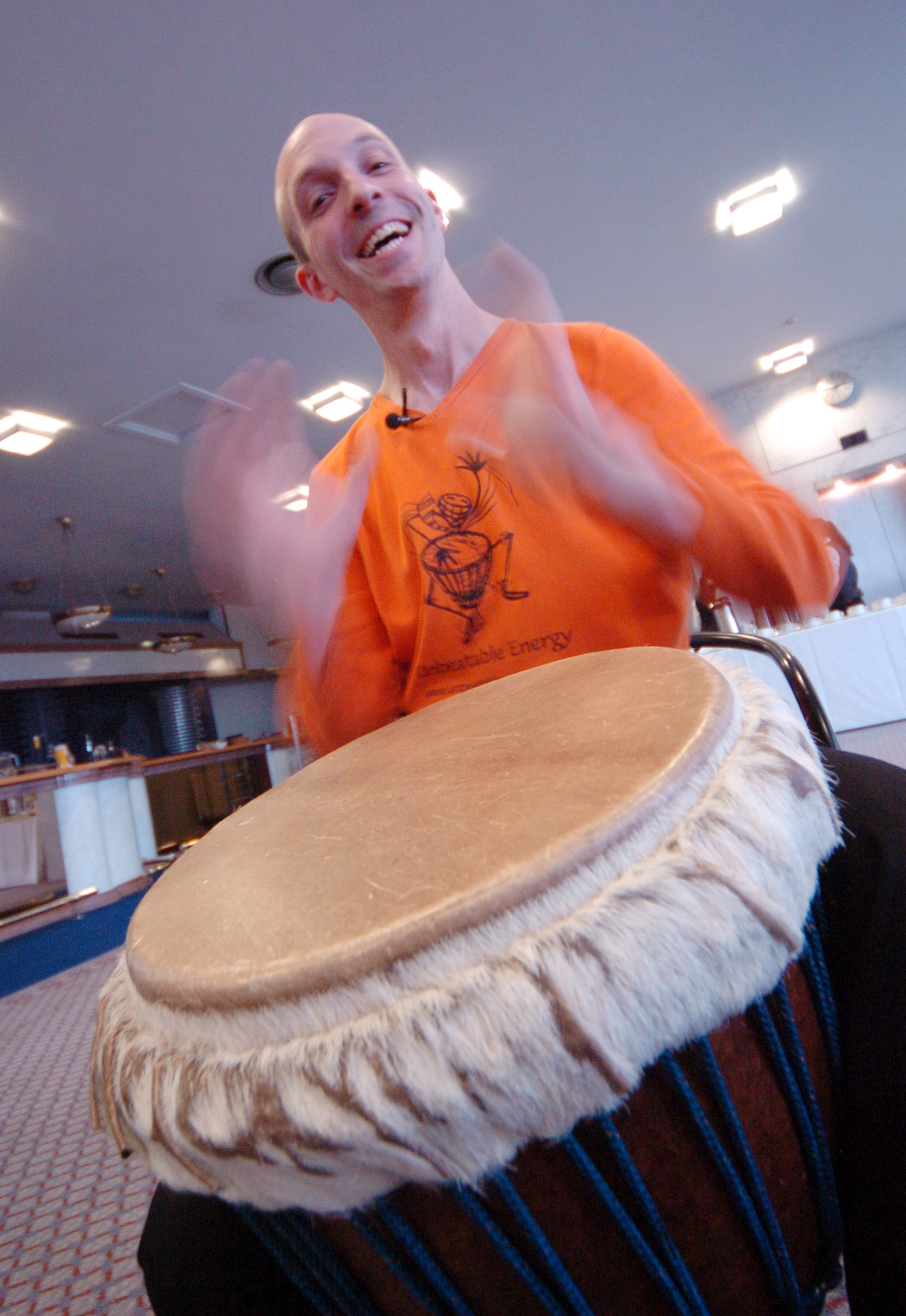 Steve Rivers warming up prior to the big event - mimed drumming facilitation to 350 delegates