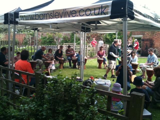 African drum circle at Barnsley