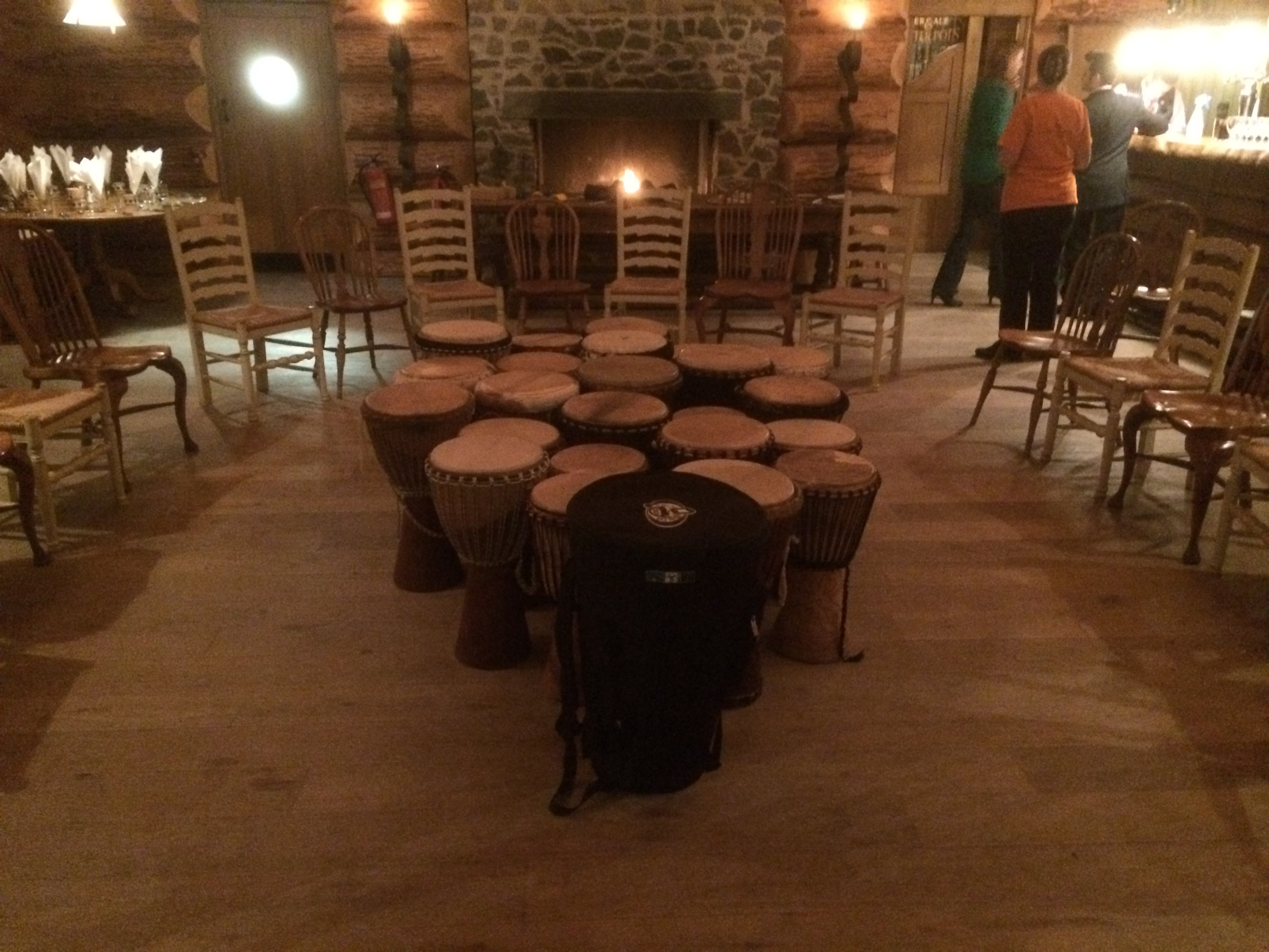 Drumming by a log fire - the perfect combination to get warm and toasty!