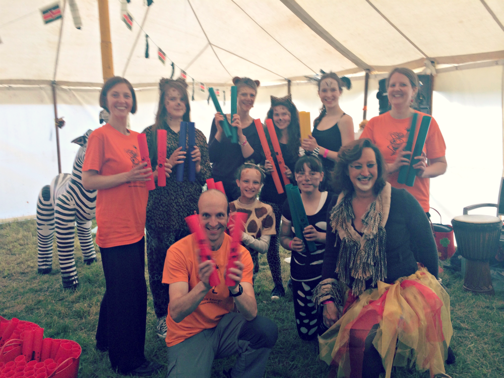 Steve Rivers from Unbeatable Energy hosting a Boomwhacker drumming workshop for Rainbows Guides in Trentham, Staffordshire