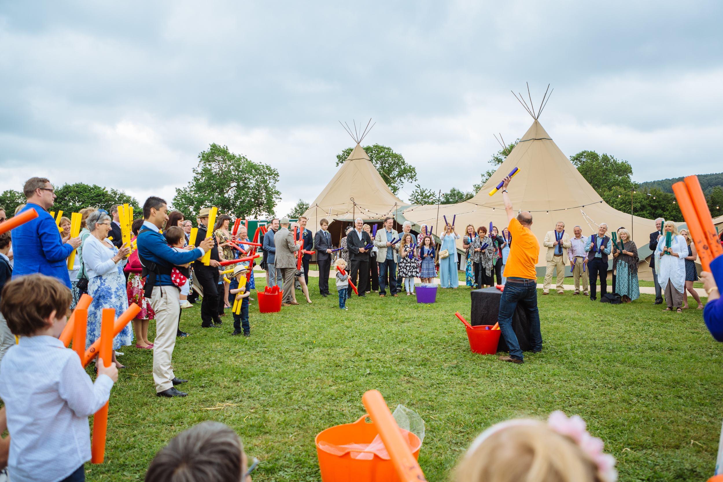 African drumming icebreaker for outdoors wedding ceremony in Derbyshire