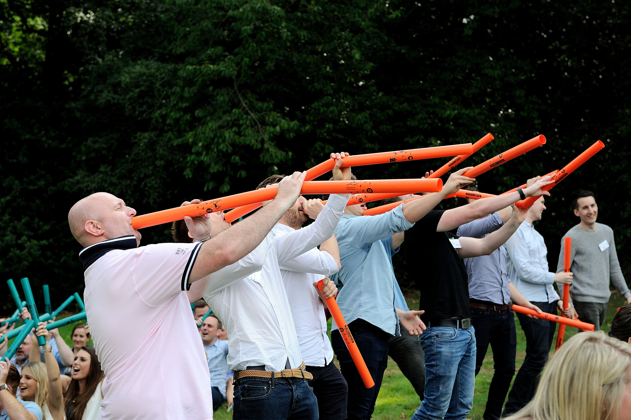 Boomwhacker Team Building Session with REL Field Marketing in West Berkshire