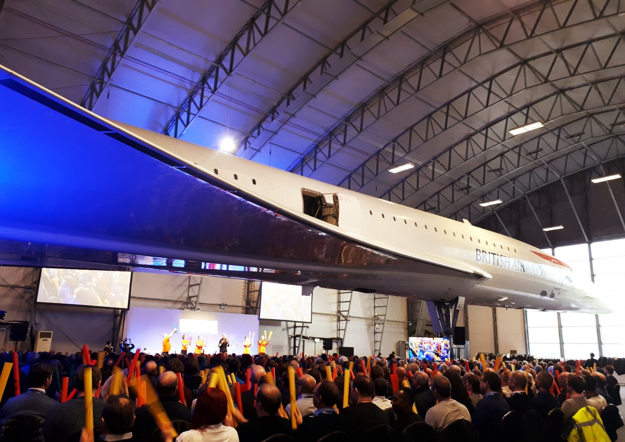 700 delegates playing boomwhackers is already exciting enough - but try adding a real Concorde jet into the mix as well!
