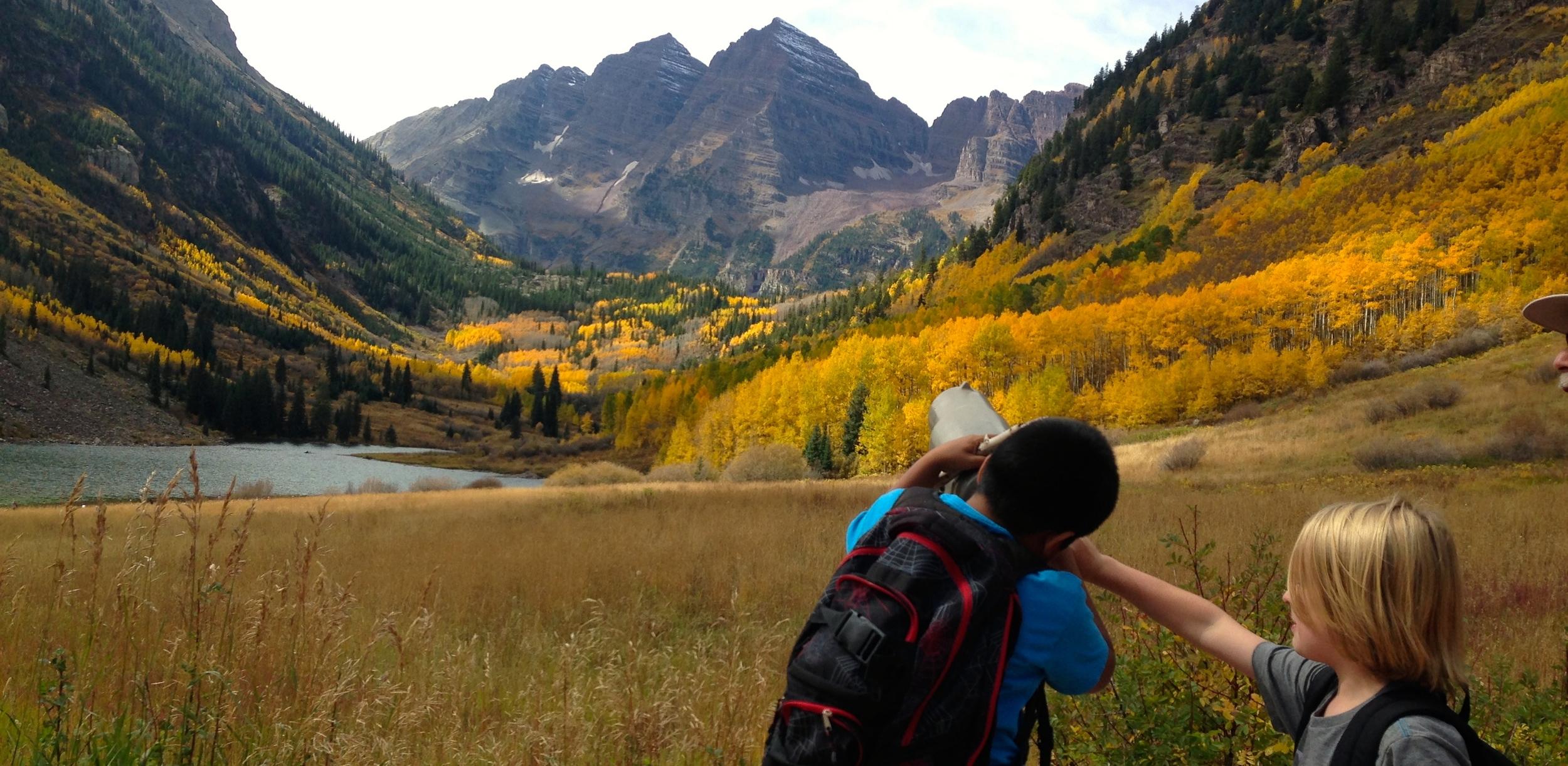 Third grade students explore the Maroon Bells on a field trip. November 2015.