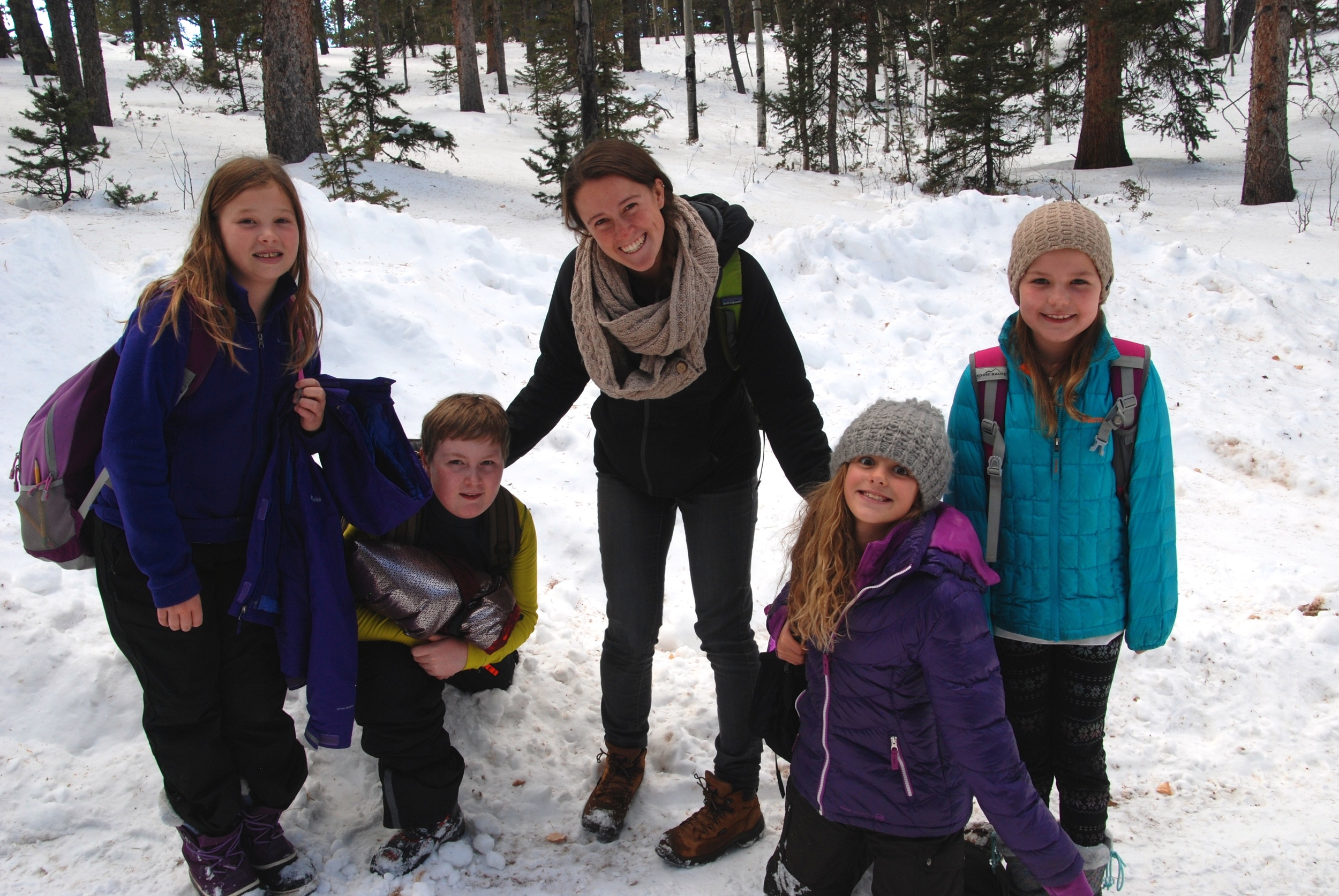 My team of four fifth-grade students on a hike at the Catamount Center. December 2015.