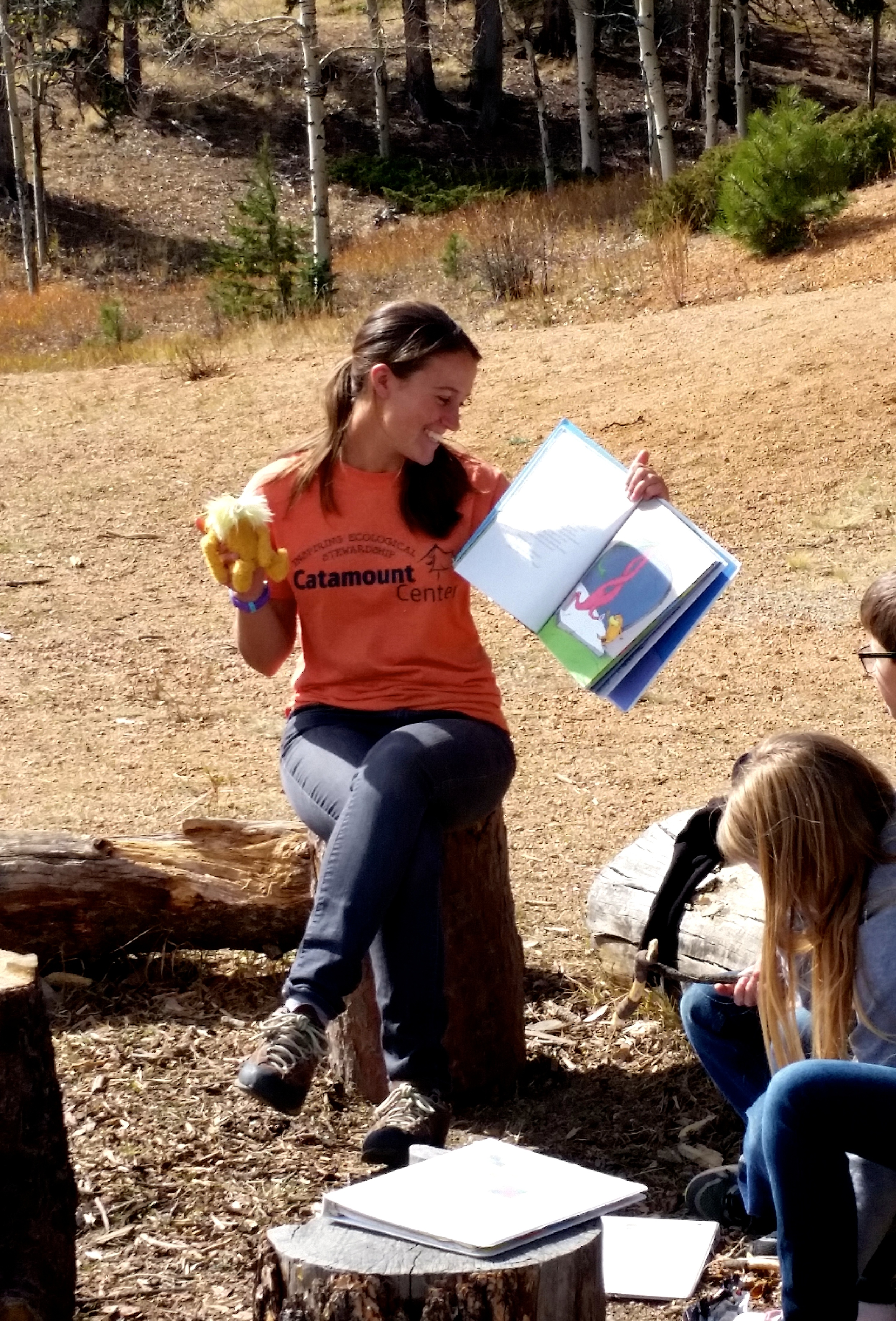 Skills include dramatic readings of The Lorax with the Lorax himself. Catamount Center, 2015.