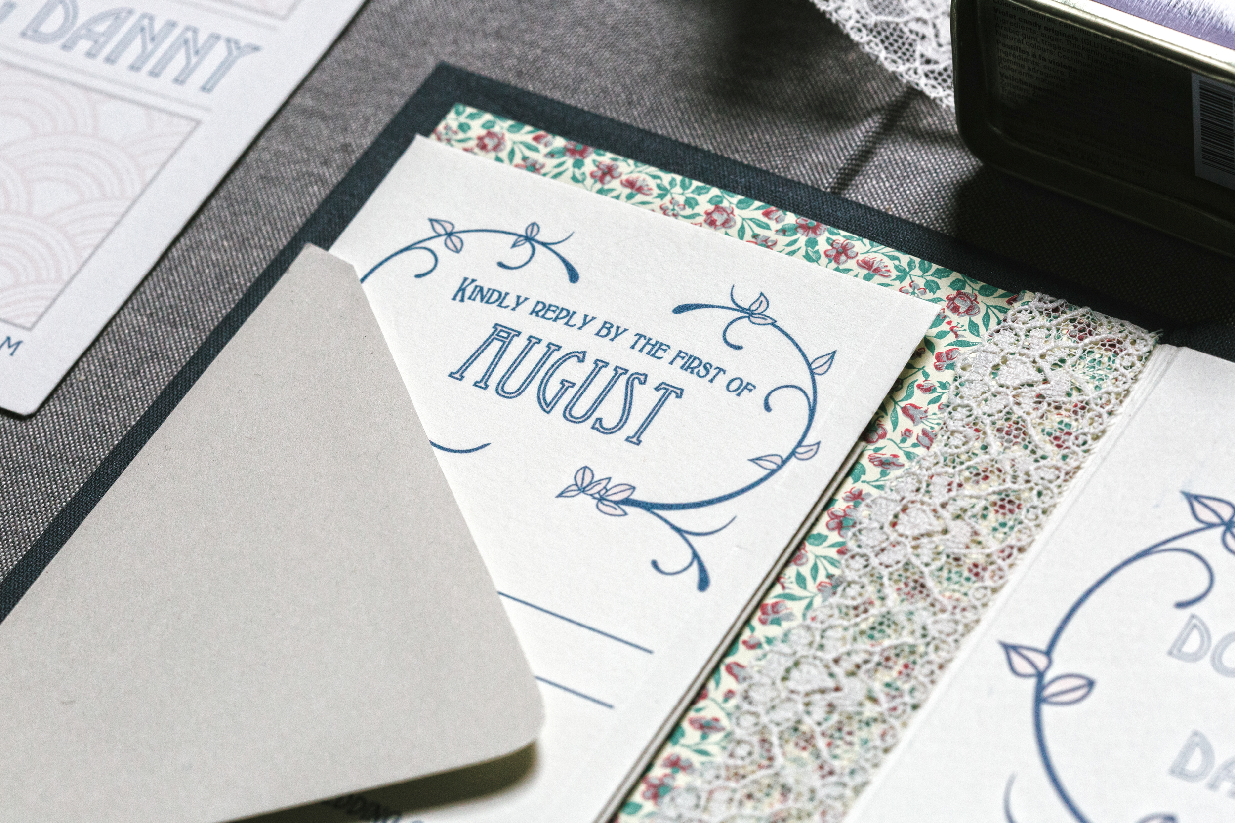 The folder is lined with a vintage flower pattern. A vintagelace sleeve holds the rest of the suite's cards in place.