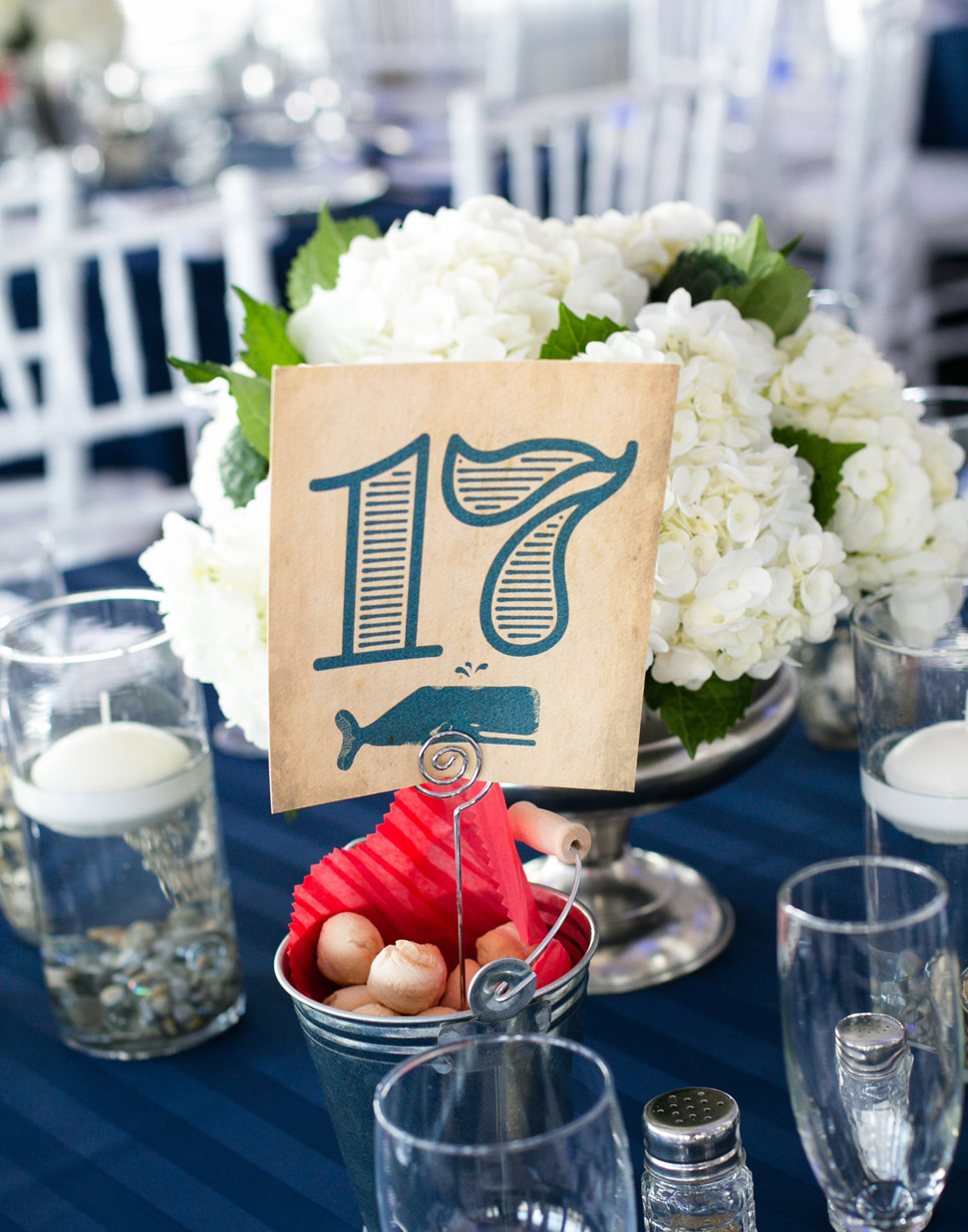 Antiqued table numbers.