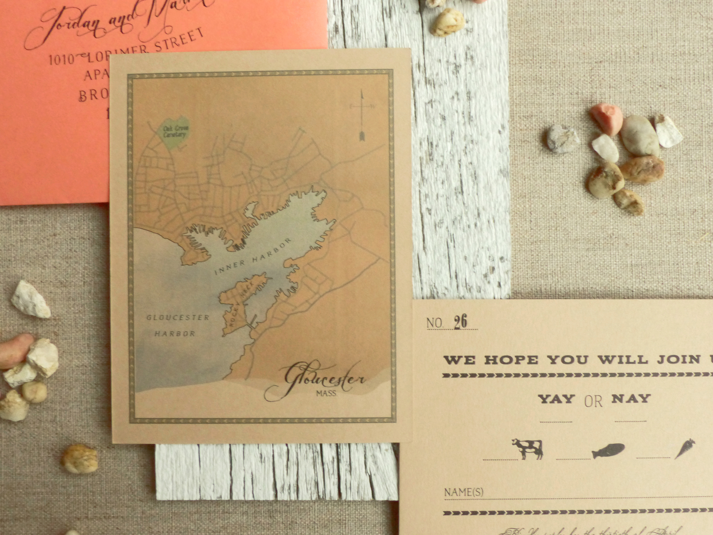 We created a watercolor map of the historic town for the back of the reply card.