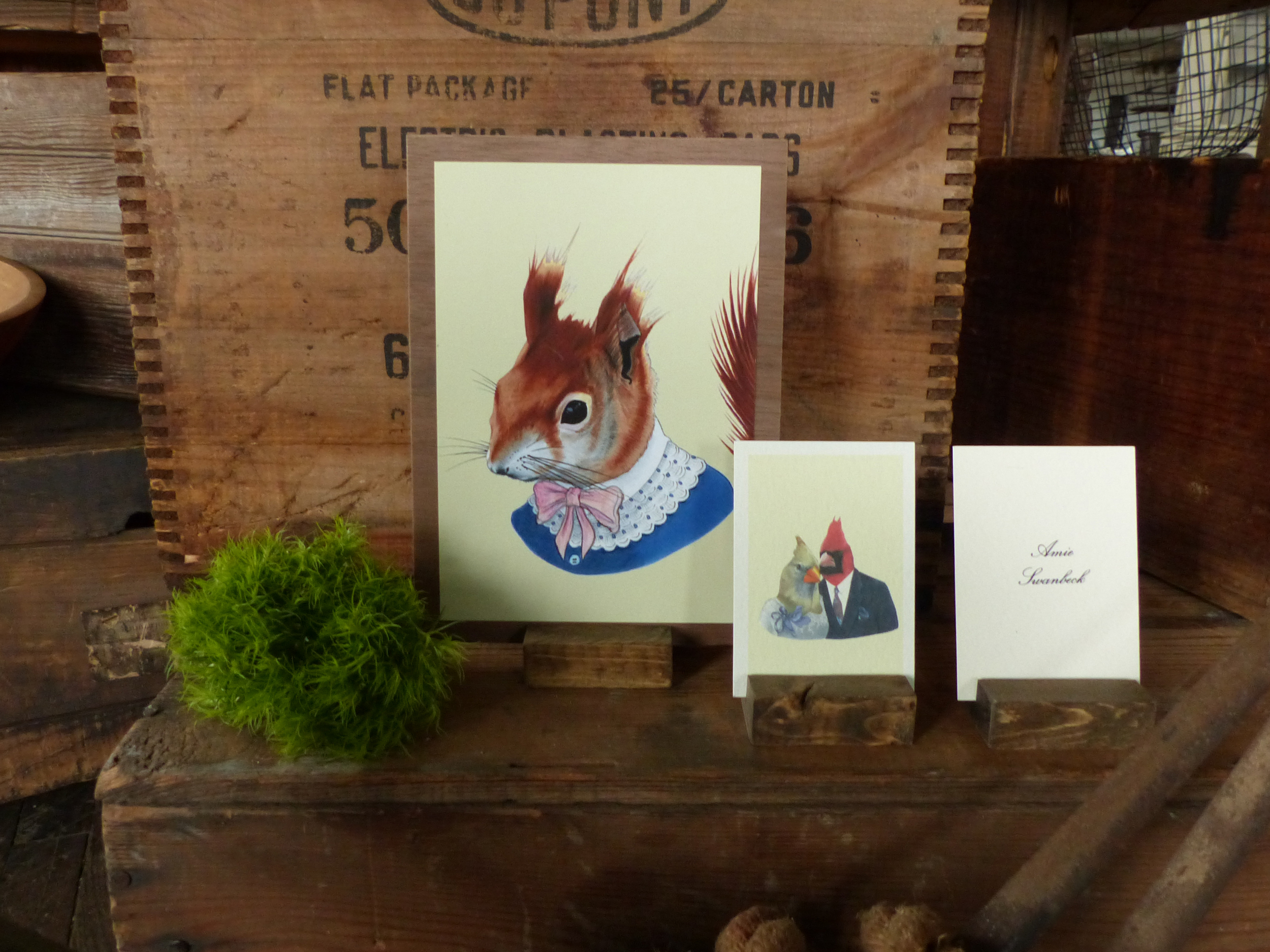 Each table used a picture cue of an illustration of a woodland creature dressed in formal wear.