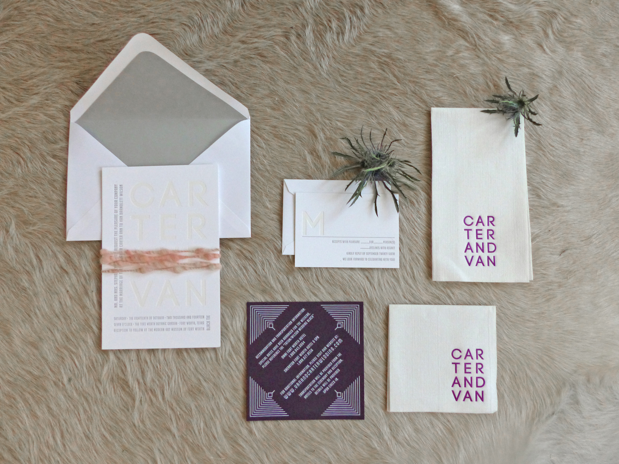 Another pop of color is delivered with deep purple travel card screen printed in gray. Cocktail and dinner napkins were printed with the couples names.