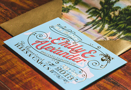 The postcard save the date was printed with a map of Turks and Caicos and stamped with gold foil.
