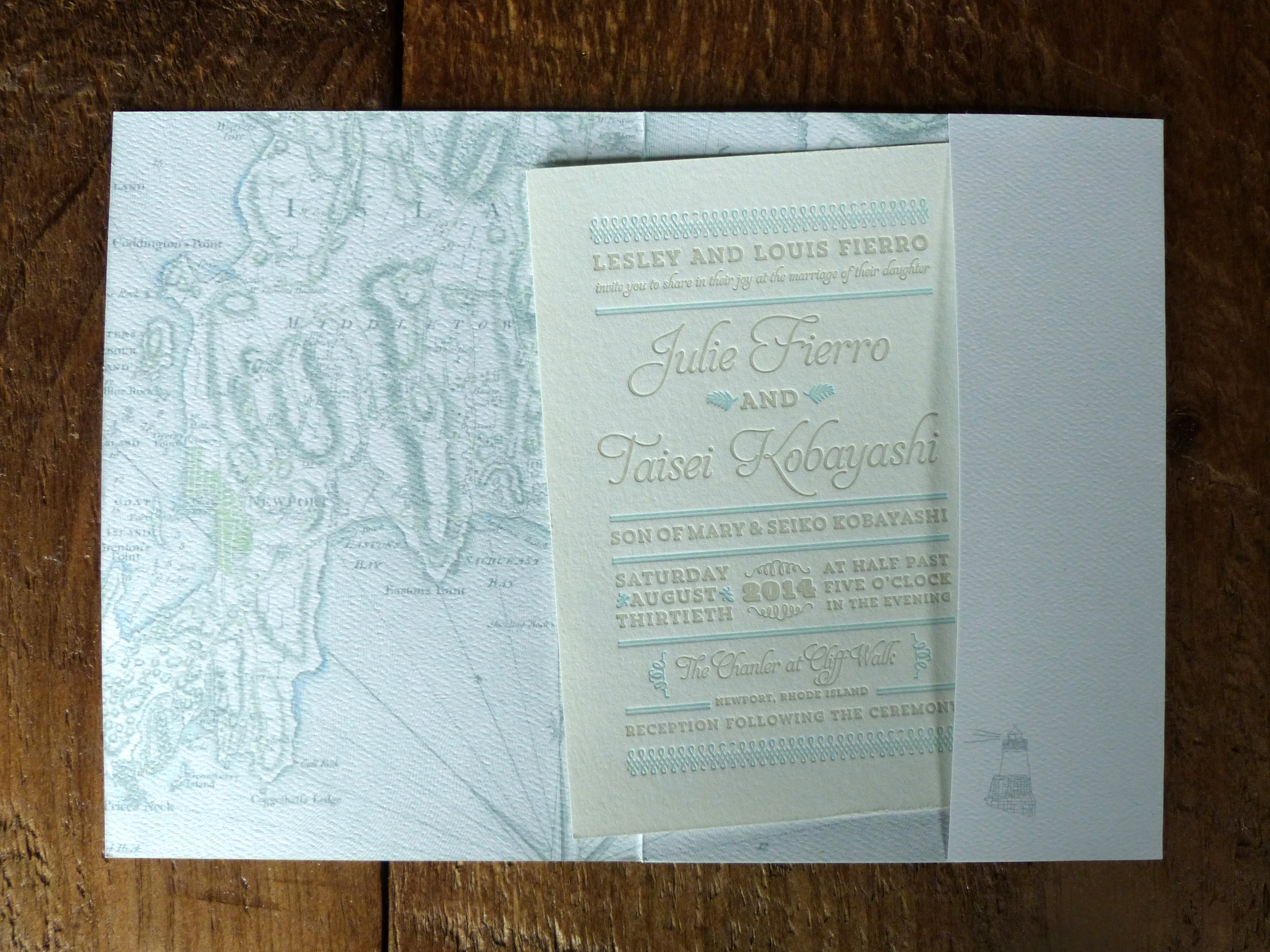 The inside of the folder was printed with a full bleed nautical map of Rhode Island. The two color letterpress invitation has a vintage classic look in order to coordinate with the history of the venue.