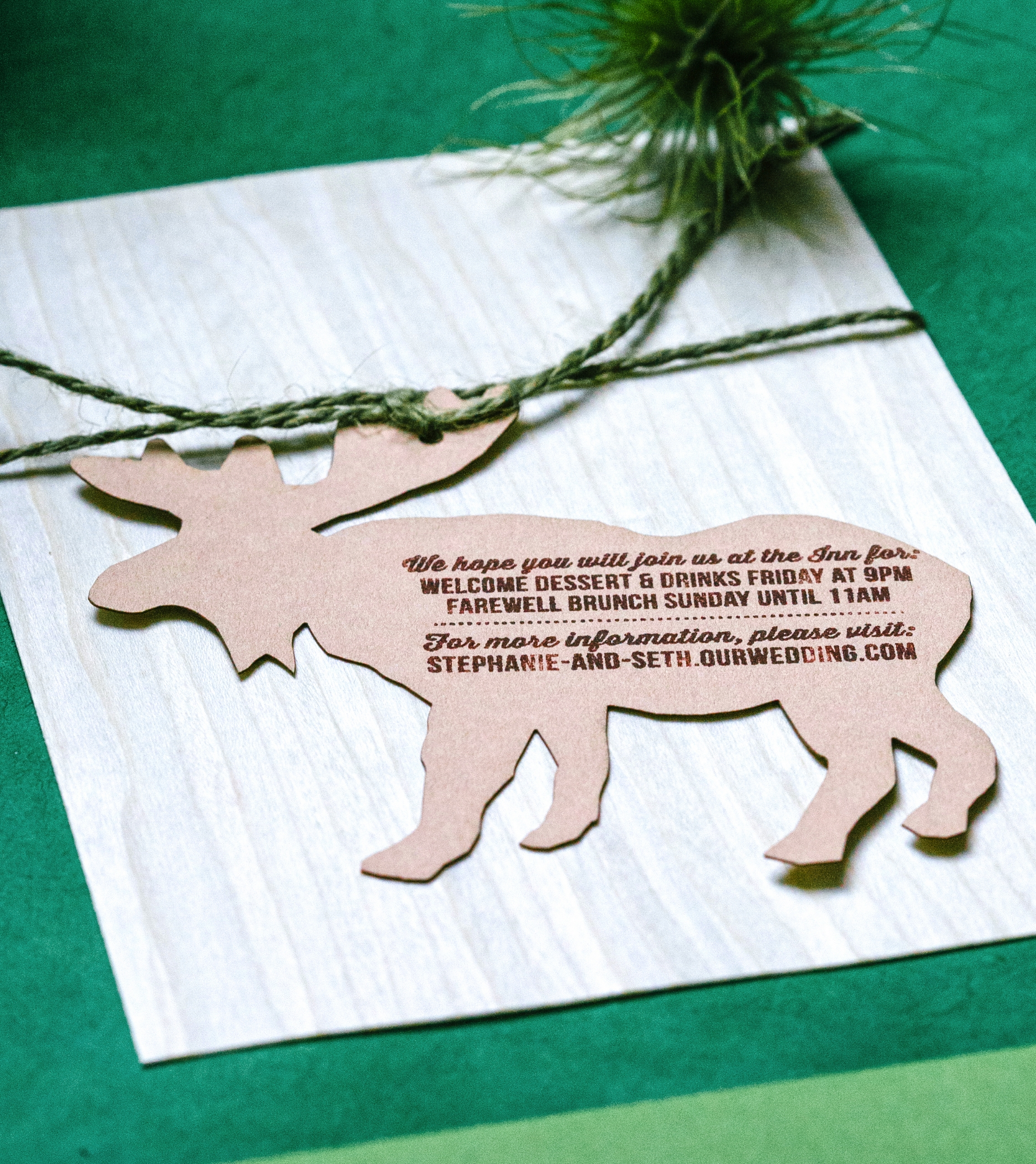 A laser cut moose card was made to handle the other events of the weekend and the couple's website URL.