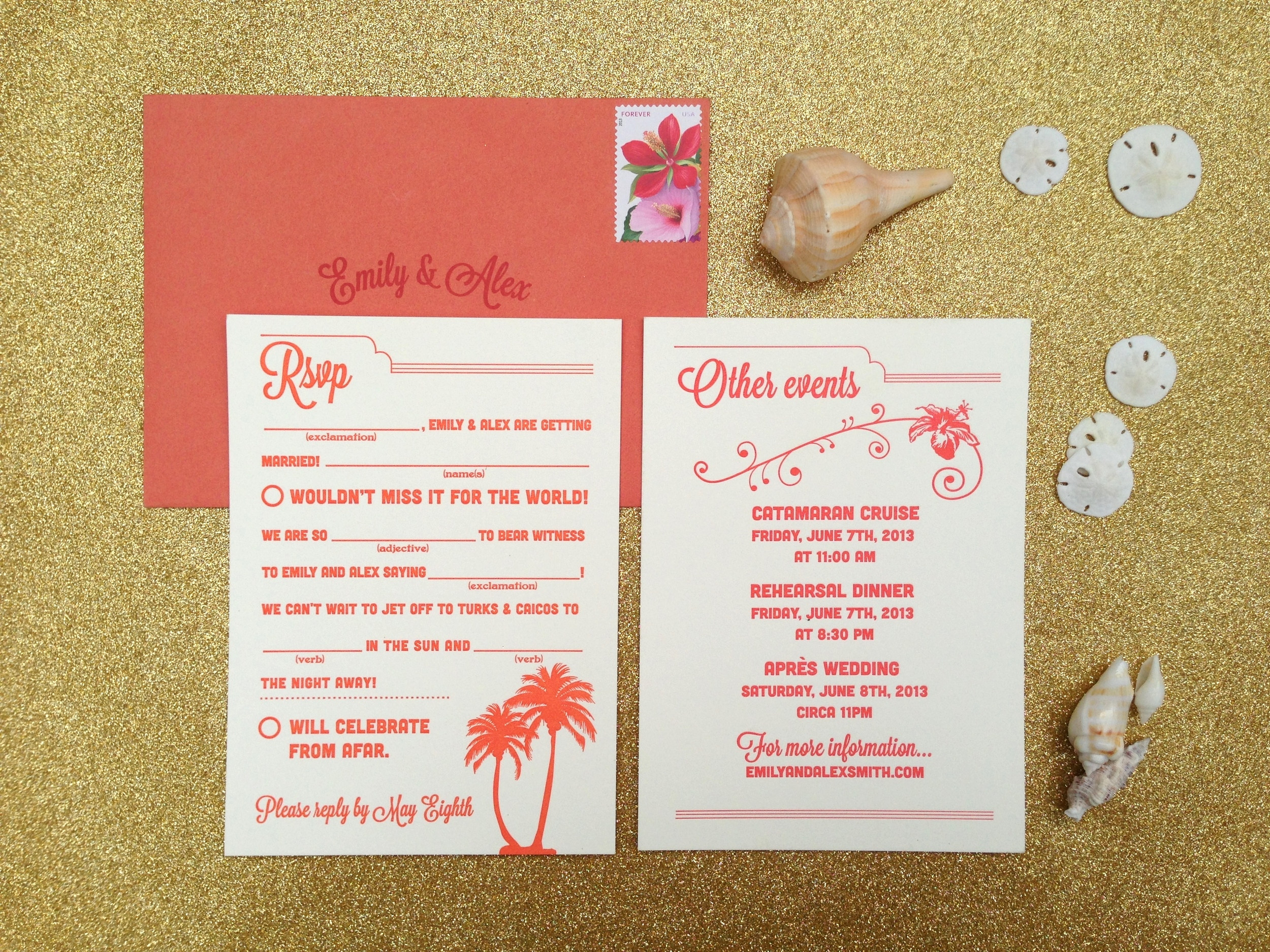 A mad lib reply card was designed in bright bright coral with an accompanying retro style events card in cherry red.