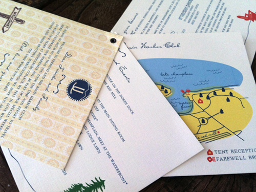 A welcome booklet was made and bound with a tiny eyelet then attached to the welcome baskets.