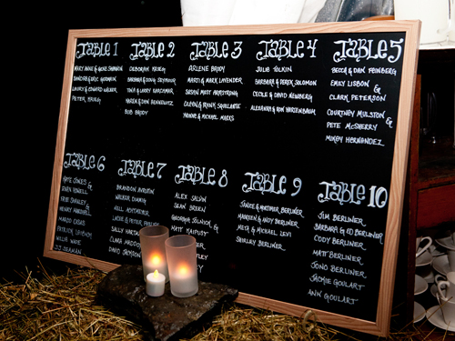 For casual rehearsal dinner Shindig made a chalk board list of seating arrangements posted outside of the docked tent.