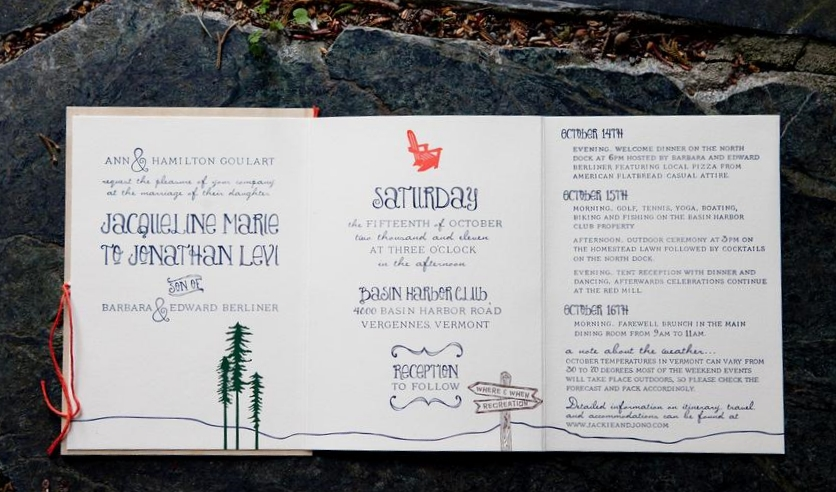 With all guests invited to attend the entire weekend of festivities all events were incorporated into the tri-fold invitation printed in 4 color letterpress.