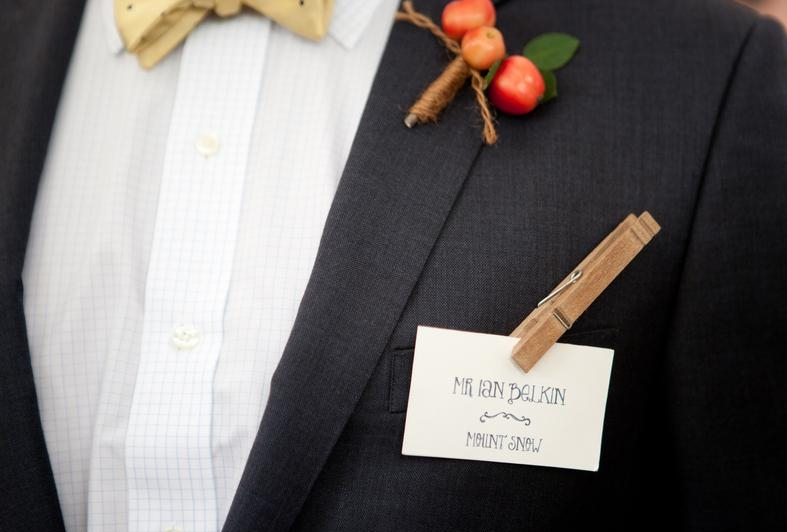 Place cards were attached to burlap ribbon with clothespins which creative guests used in ingenious ways!