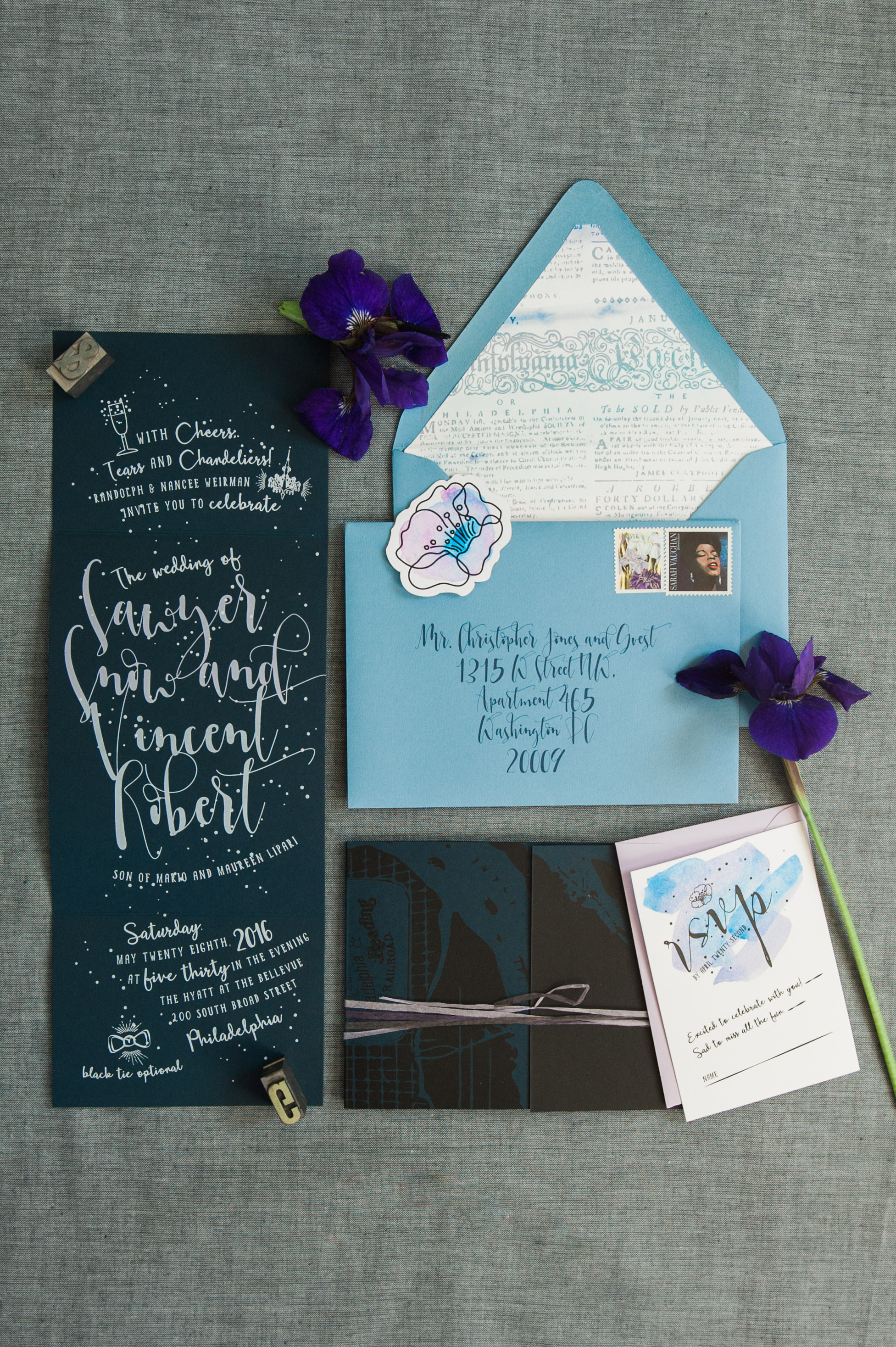 We decided on a invitation that unfolded to maximize impact. We chose a deep blue paper stock and screen printed the inner spread in a gradient from pale blue to lavender.