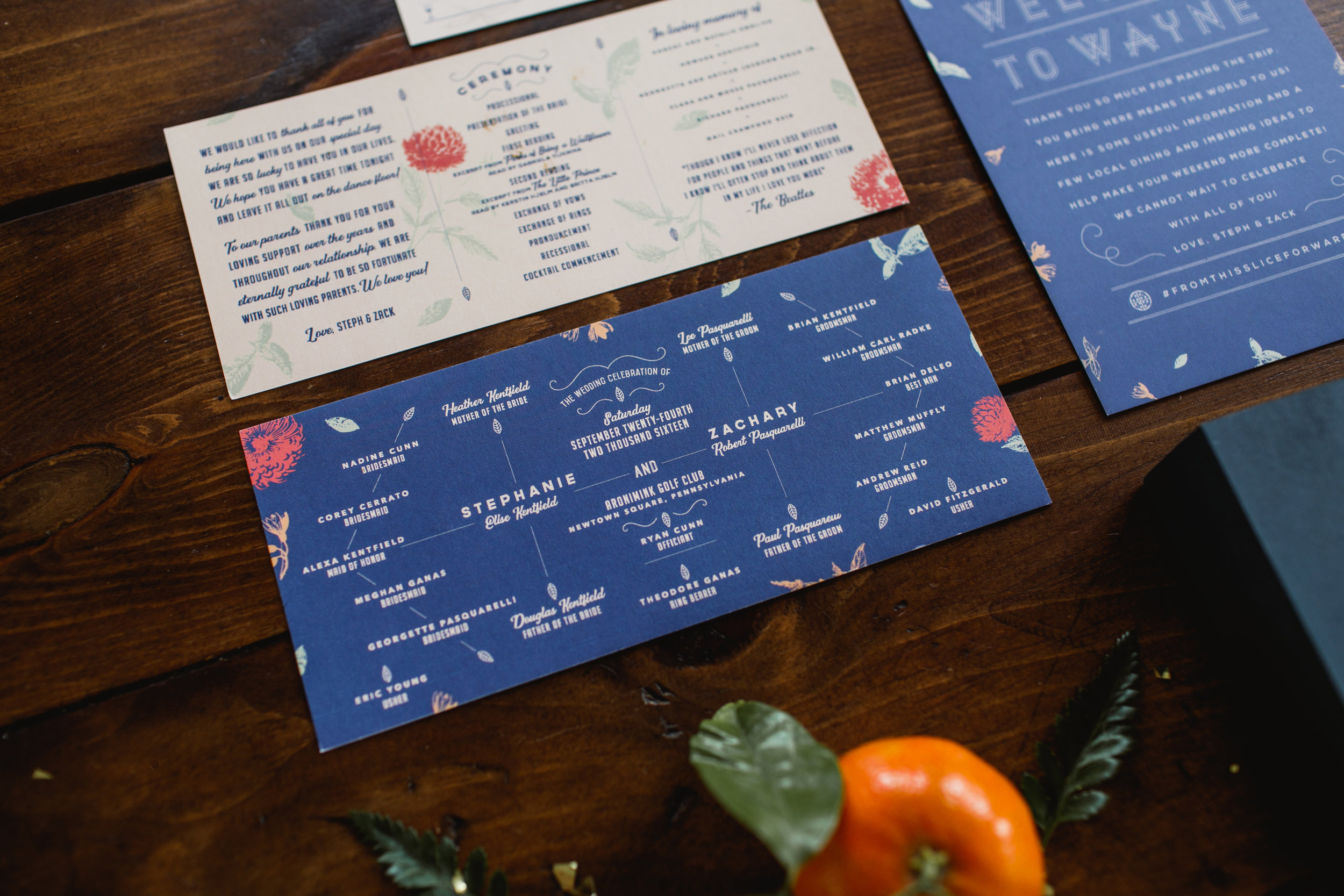 Royal blue invitation suite with floral screen printed program