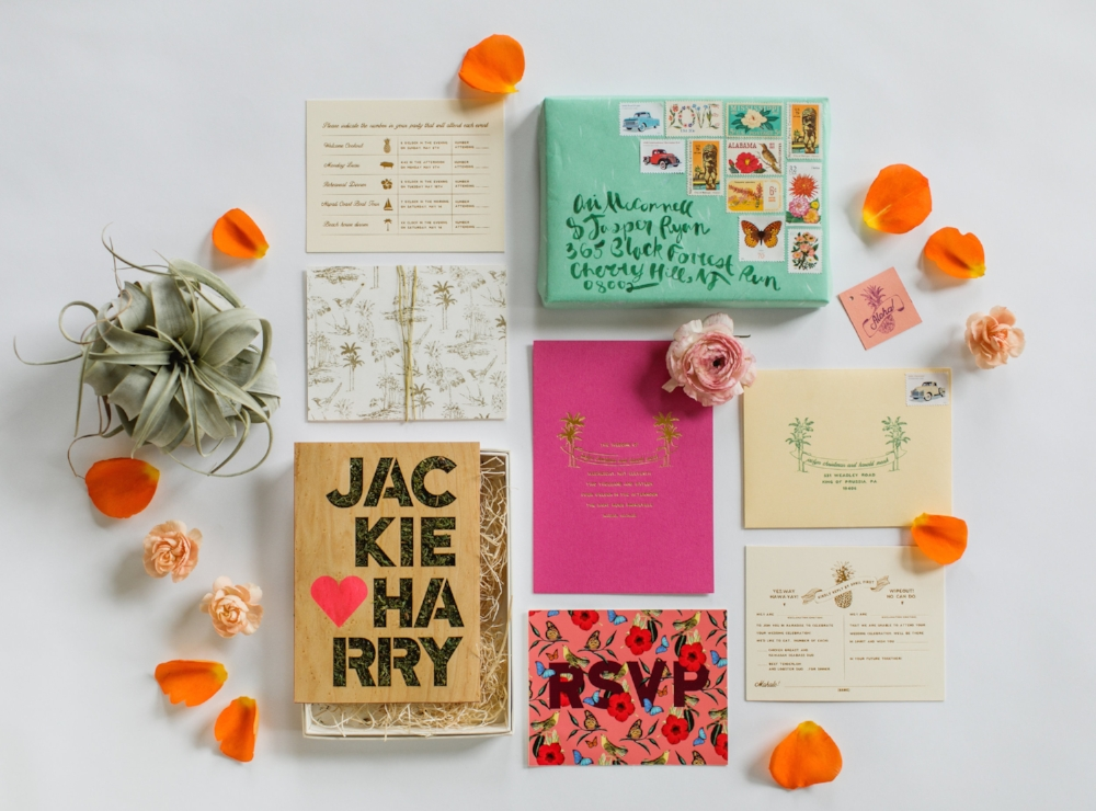 "This extra special invitation was designed for an intimate wedding on the Island of Kauai, Hawaii. From tip to tail, the bride, whose is a florist, encouraged our team to push the creative ""envelope"" as much as possible and gave us almost no boundaries except for requesting that we make the suite colorful and unique."