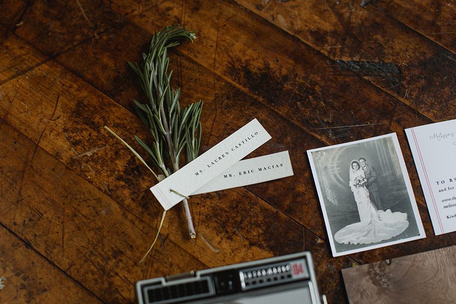 Place tags were tied to rosemary sprigs and placed on the plates at guests' seats.