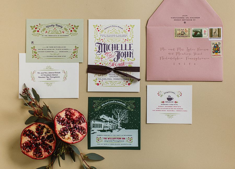 One challenge when creating a holiday themed wedding suite is making it look festive and seasonal without making it look like a Christmas card. The best way to do that is to use shades of greens and reds that are less expected like our use of a dusty rose envelope, sage green and plum, with only minimal use of forest green and bright red.
