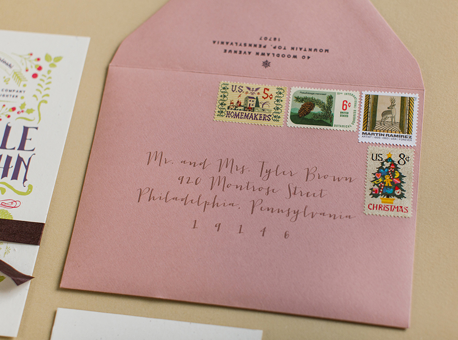 We found perfectly themed vintage stamps to post the invitations!