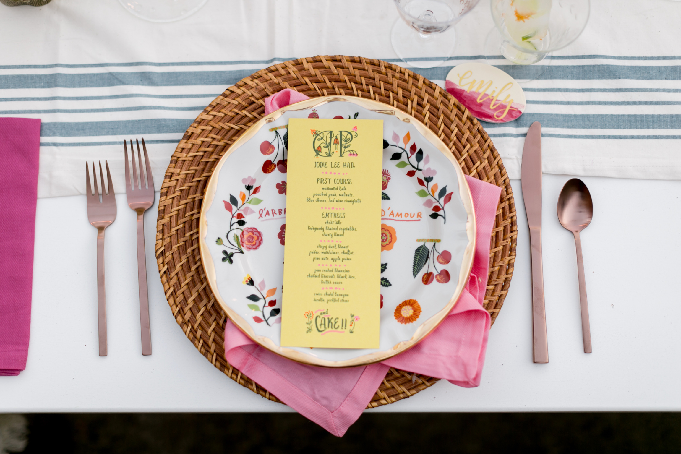 Bold and bright, happy and hippy menus topped these whimsical plates from Anthropologie.