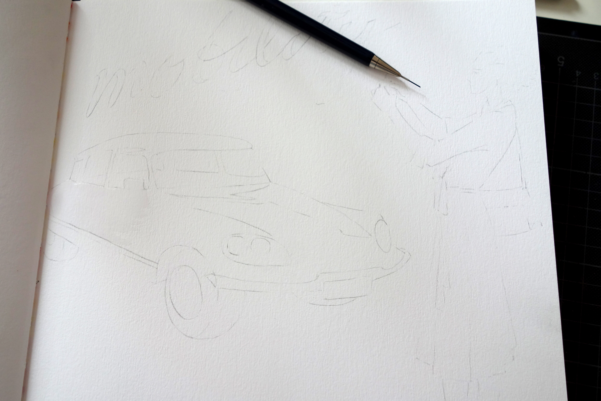 """Then I transferred the lines from the sketch paper to the sketchbook. The method I use for that is to redraw the drawing on the backside of the transparent sketch paper, place it on top of the final paper, and press again with a pencil along the lines (redraw it for third time), so that the graphite on the backside will be transferred to the """"good"""" paper."""