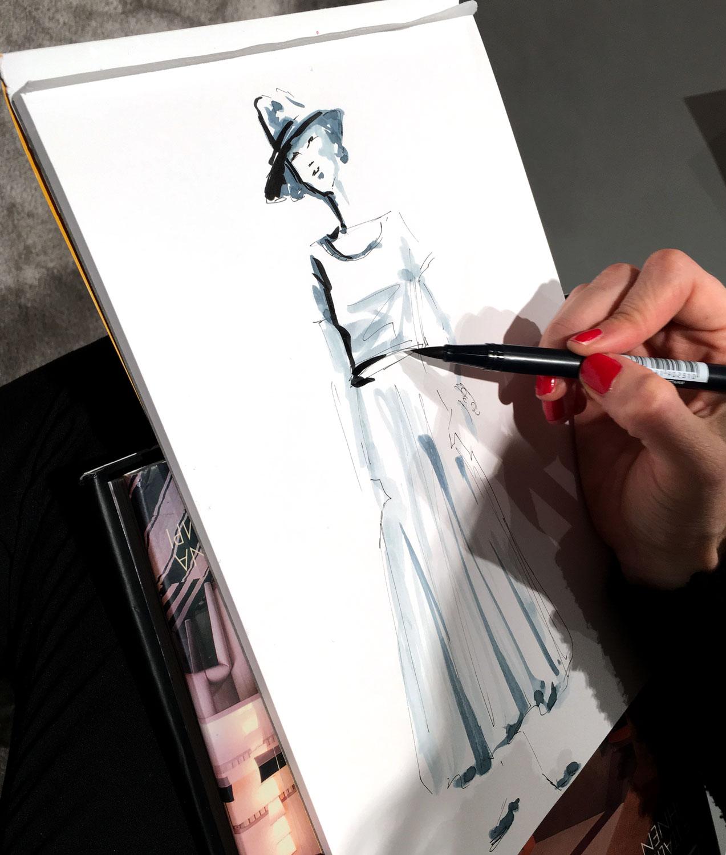 Live sketch drawing Virginia Romo Illustration